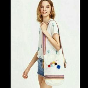 Handbags - Pom Pom Boho Crossbody Tote Bag